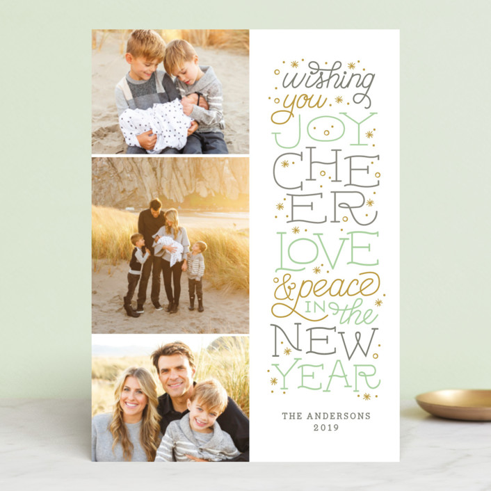 """""""Joyful Lettering"""" - Christmas Photo Cards in Mint by Sarah Guse Brown."""