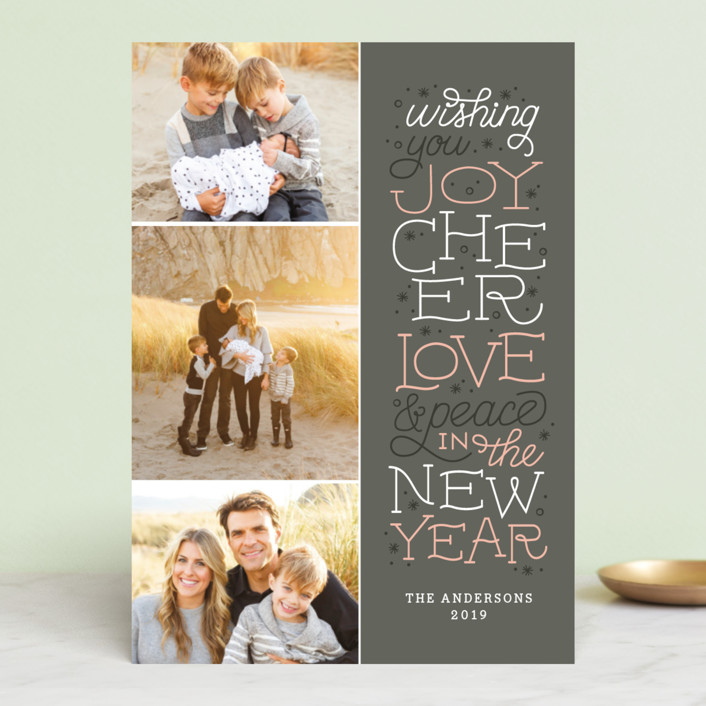 """""""Joyful Lettering"""" - Christmas Photo Cards in Midnight by Sarah Brown."""
