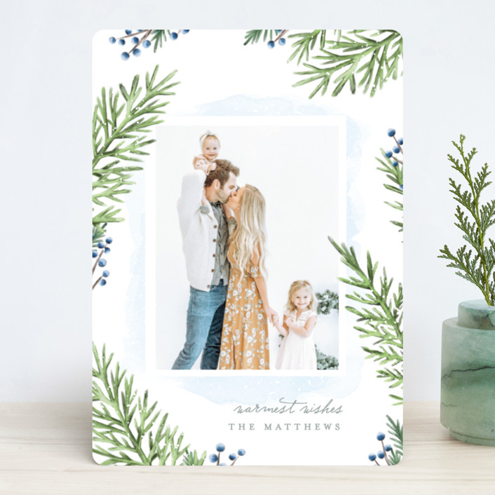 """""""Painterly Pine"""" - Christmas Photo Cards in Blueberry by Hooray Creative."""