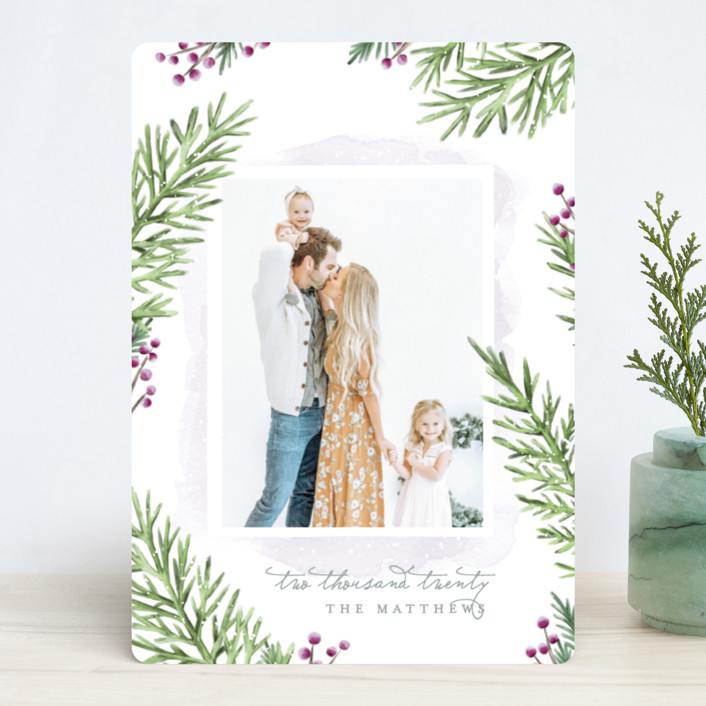 """Painterly Pine"" - Christmas Photo Cards in Blueberry by Hooray Creative."