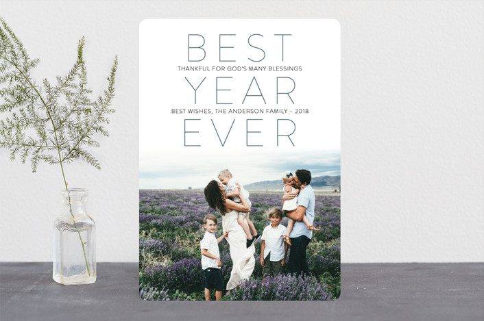 """""""Modern Faith"""" - Christmas Photo Cards in Azure by Jennifer Lew."""