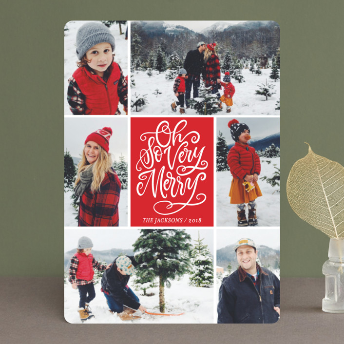 """""""Be Jolly Collage"""" - Christmas Photo Cards in Santa Suit by Laura Bolter Design."""