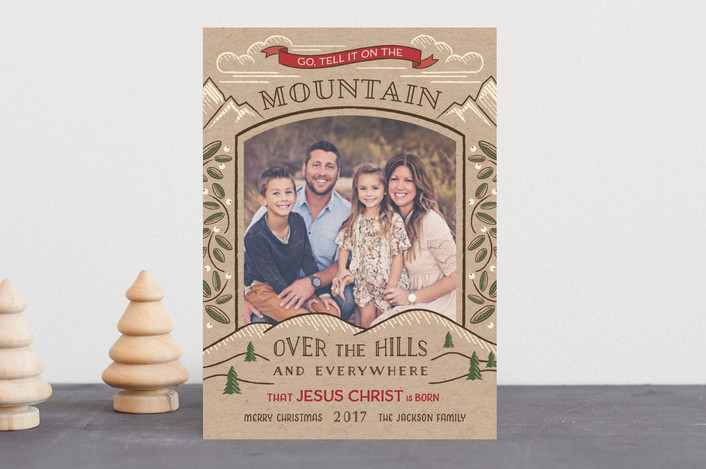 Mountain Christmas Cards.Go Tell It On The Mountain Customizable Christmas Photo Cards In Brown Or Green By Paper Sun Studio