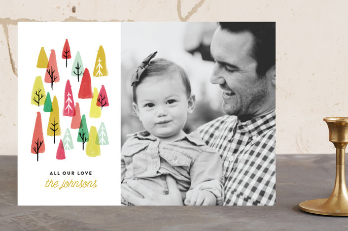 """The Tree Lot"" - Christmas Photo Cards in Bright by Olivia Kanaley."