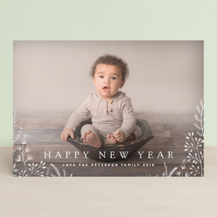 """""""Wild and Free"""" - Floral & Botanical, Full-Bleed Photo Christmas Photo Cards in Cornflower by Design Lotus."""