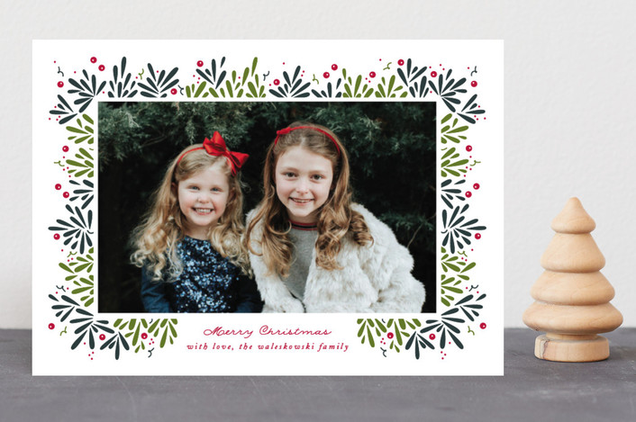 """Berry Branches"" - Christmas Photo Cards in Spruce by Jennifer Postorino."