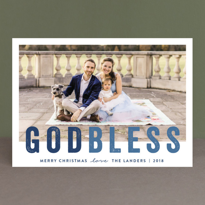 """""""God Bless """" - Christmas Photo Cards in Cobalt by Chasity Smith."""