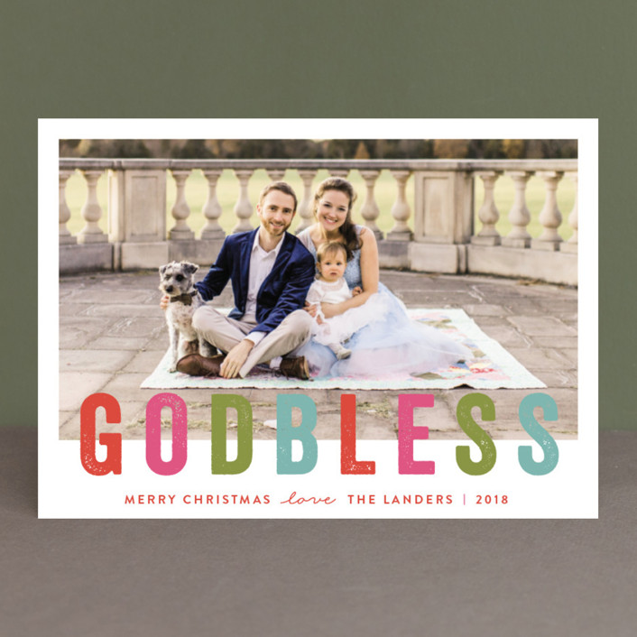 """God Bless "" - Christmas Photo Cards in Scarlet by Chasity Smith."