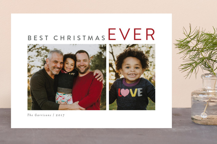 """The Sounding Joy"" - Christmas Photo Cards in Berry by Kelly Nasuta."