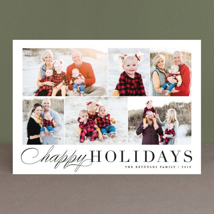 """Happy Collage"" - Christmas Photo Cards in Tuxedo by Carolyn MacLaren."