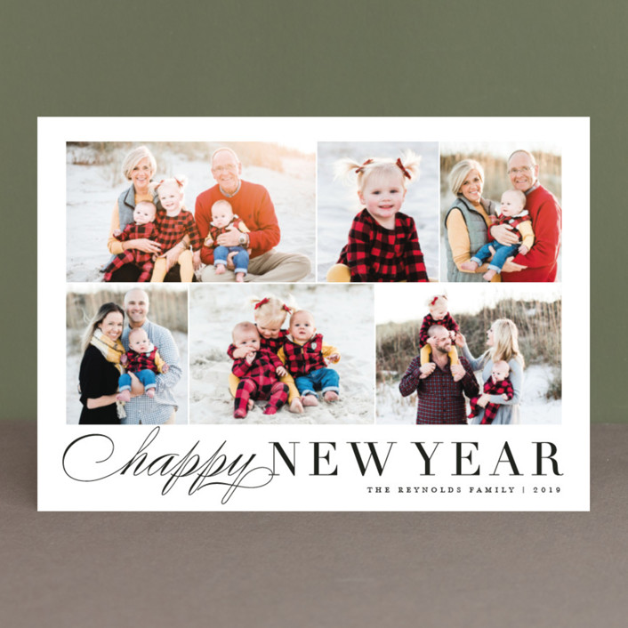 """Happy Collage"" - Christmas Photo Cards in Black by Carolyn MacLaren."