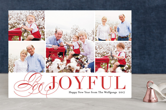 """Bursting with Joy"" - Christmas Photo Cards in Cherry by Kimberly FitzSimons."