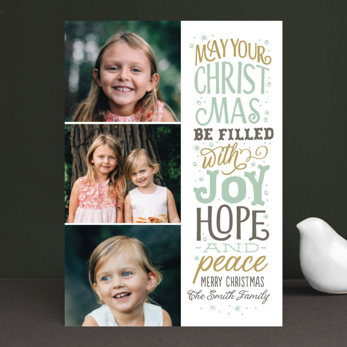 """The God of Hope"" - Christmas Photo Cards in Soft Juniper by Sarah Guse Brown."