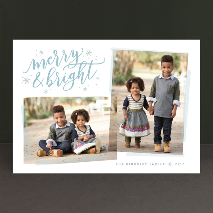 """Twofer Merry"" - Christmas Photo Cards in Frost by Hooray Creative."