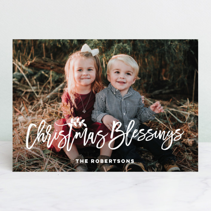 """Blessings for Christmas"" - Christmas Photo Cards in Winter White by Designkandy."