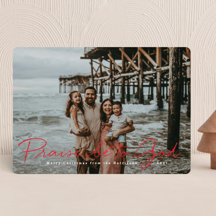 """Praise be to God"" - Christmas Photo Cards in Santa Suit by Design Lotus."