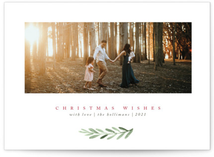 Clean Laurel Wishes Christmas Photo Cards