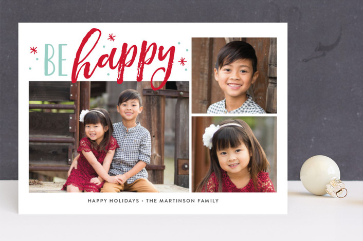 """""""Jolly Stars"""" - Christmas Photo Cards in Red Berry by Jessica Williams."""