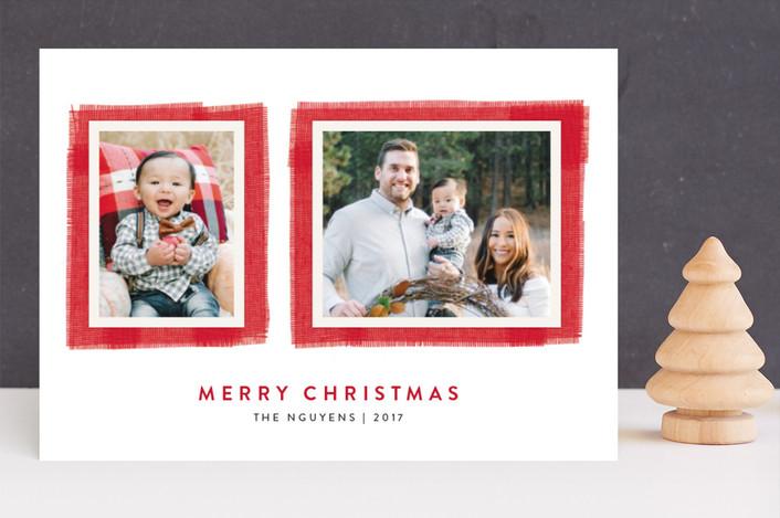 """Joyful Frame"" - Christmas Photo Cards in Cherry by Kelly Nasuta."