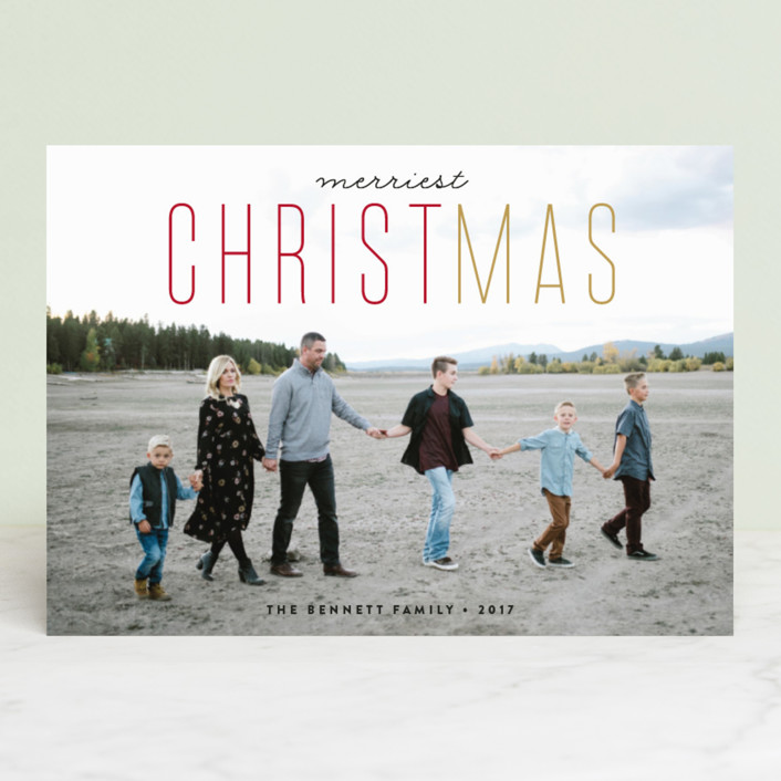 """CHRISTmas"" - Christmas Photo Cards in Pomegranate by Erica Krystek."