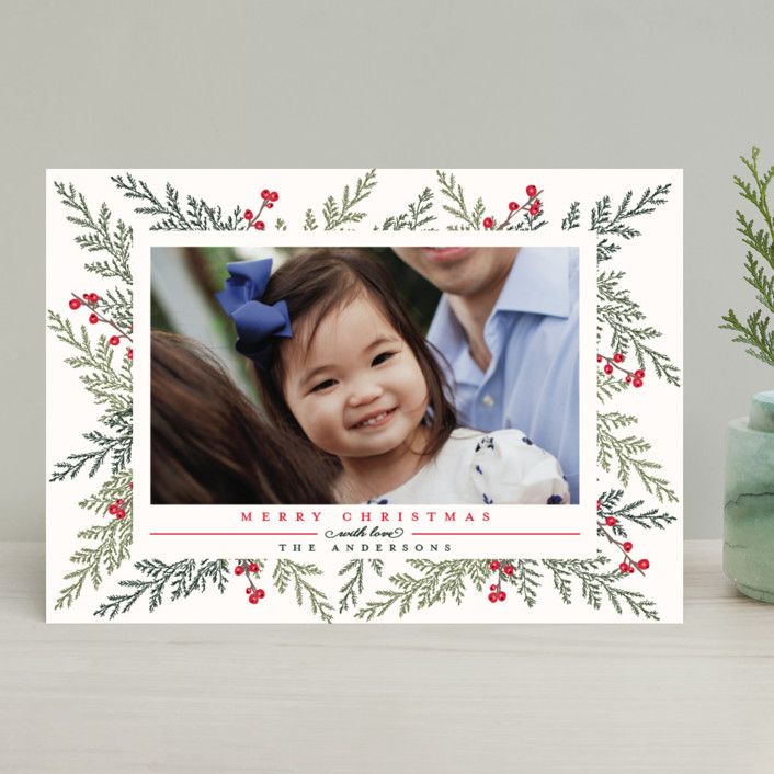 """Christmas Blessings"" - Christmas Photo Cards in Crimson by Susan Moyal."