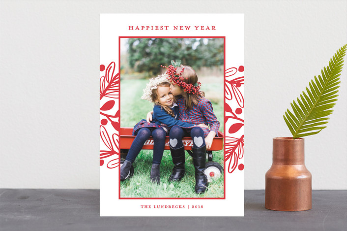 """""""Fun Botanical Frame"""" - Christmas Photo Cards in Cherry by Paper Dahlia."""