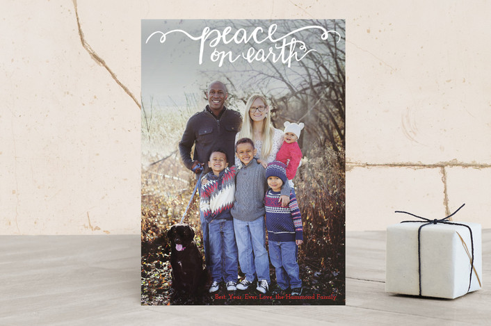 """Hand Painted Peace on Earth"" - Full-Bleed Photo, Hand Drawn Christmas Photo Cards in Candy Cane by Jennifer Allevato."
