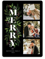 This is a black photo christmas card by Coco and Ellie Design called Merry Boughs with standard printing on smooth signature in standard.