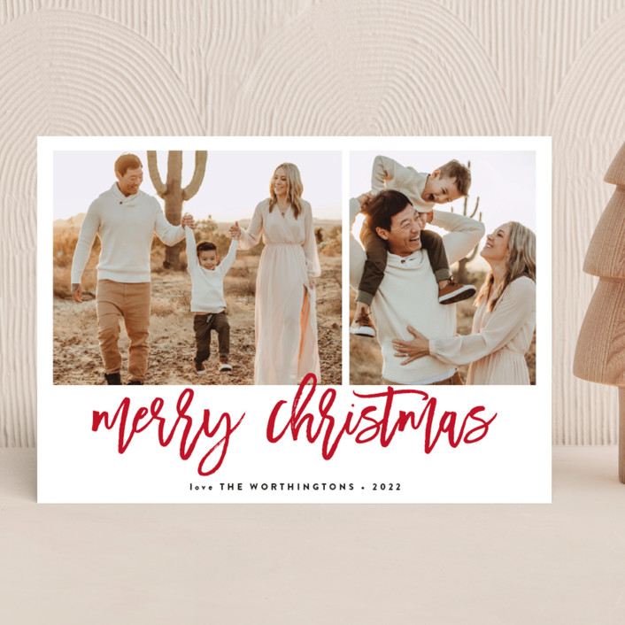 """Wonders"" - Modern Christmas Photo Cards in Snow by Roxy Cervantes."