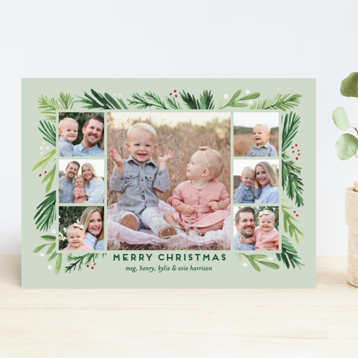 """""""Branches Framed"""" - Christmas Photo Cards in Eucalyptus by Amy Kross."""