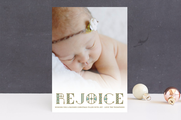 """Stainglass Rejoice"" - Christmas Photo Cards in Robin's Egg by Coco and Ellie Design."