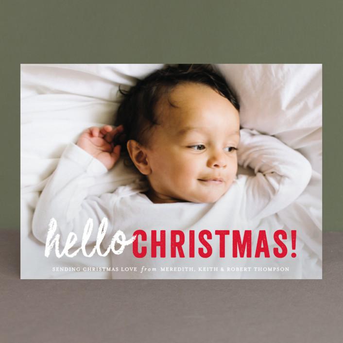 """hello Christmas"" - Christmas Photo Cards in Santa Claus by Sara Hicks Malone."