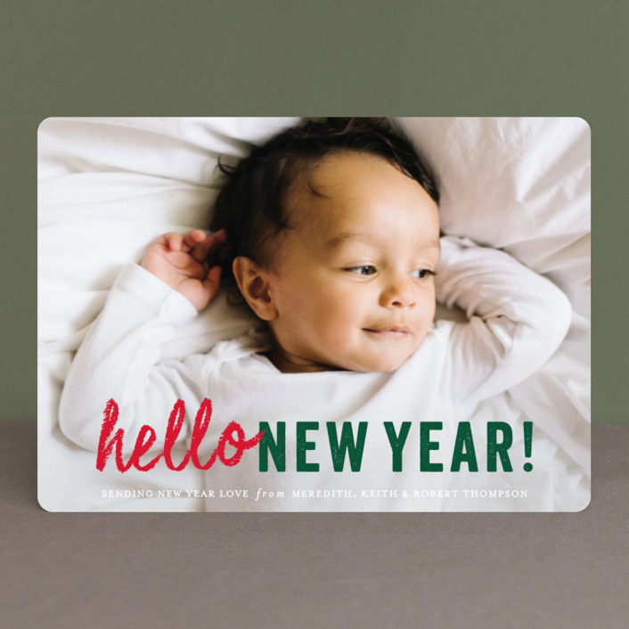"""hello Christmas"" - Christmas Photo Cards in Mint by Sara Hicks Malone."