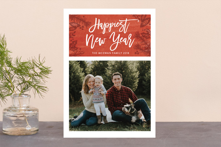 """Festive Foliage"" - Christmas Photo Cards in Berry by Kate Sorensen."