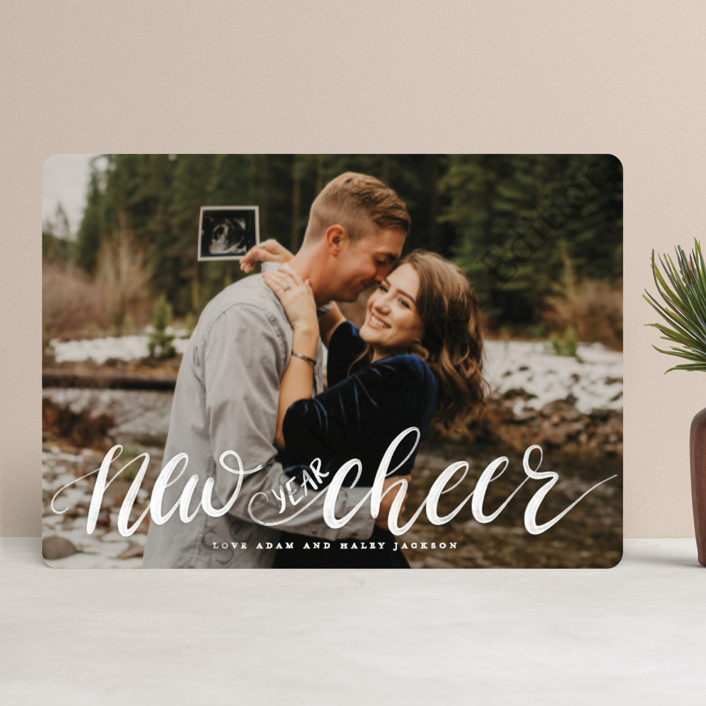 """""""More & Merrier"""" - Christmas Photo Cards in Berry by Pink House Press."""