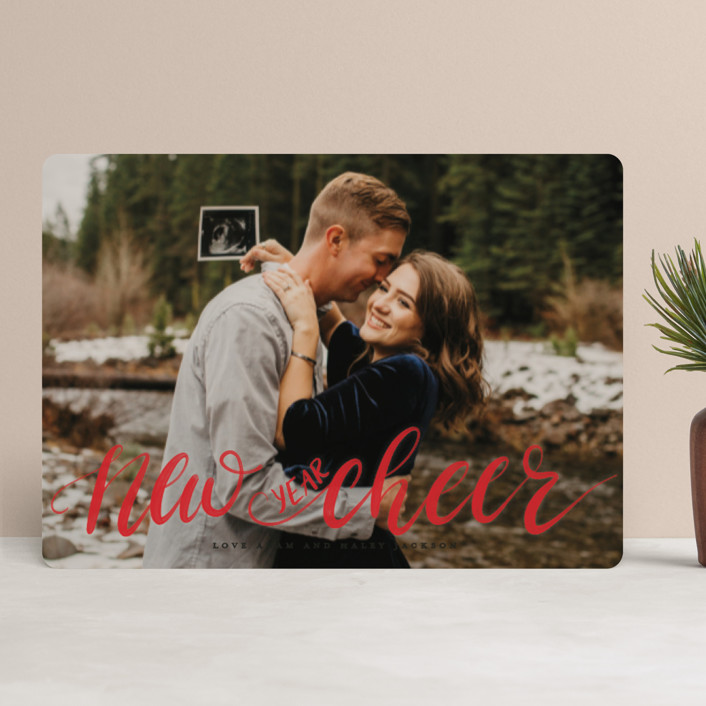 """""""More & Merrier"""" - Christmas Photo Cards in Snow by Pink House Press."""