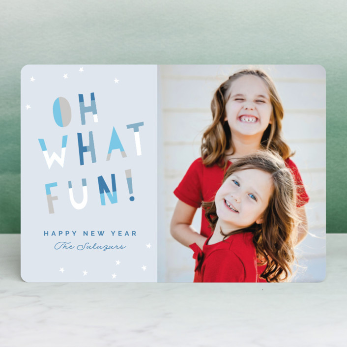 """Oh What Fun!"" - Modern Christmas Photo Cards in Mistletoe by Pixel and Hank."
