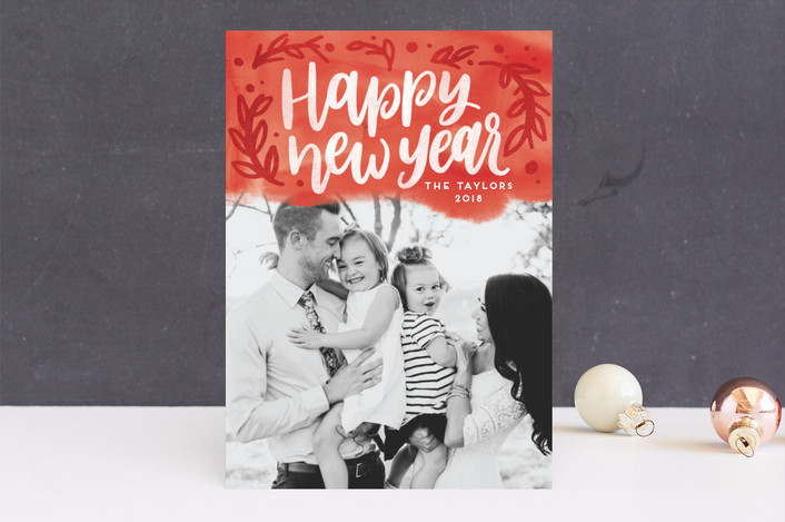 """Botanical Bright"" - Bohemian Christmas Photo Cards in Berry by Pink House Press."