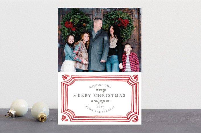 """Painted Vintage Frame"" - Vintage, Bohemian Christmas Photo Cards in Crimson by Katharine Watson."