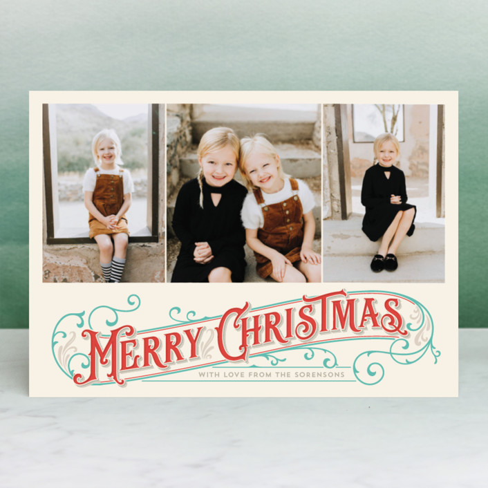 """Antique Christmas"" - Vintage Christmas Photo Cards in Parchment by GeekInk Design."