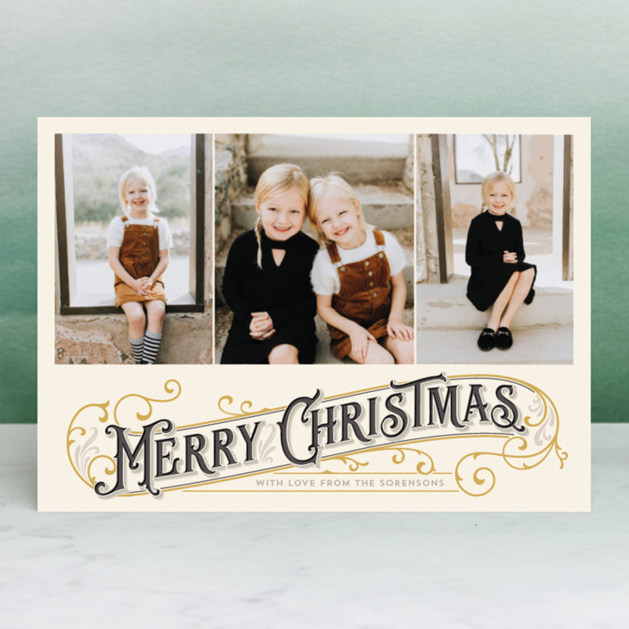 """Antique Christmas"" - Vintage Christmas Photo Cards in Ruby by GeekInk Design."