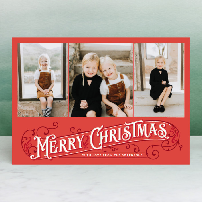 """""""Antique Christmas"""" - Vintage Christmas Photo Cards in Parchment by GeekInk Design."""