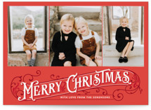 This is a red photo christmas card by GeekInk Design called Antique Christmas with standard printing on smooth signature in standard.