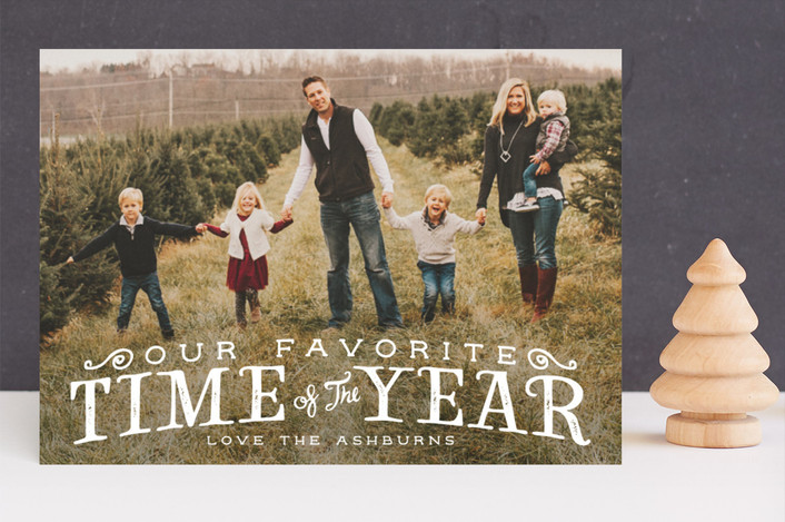 """""""Our Favorite Time"""" - Vintage Christmas Photo Cards in Polar Bear by GeekInk Design."""