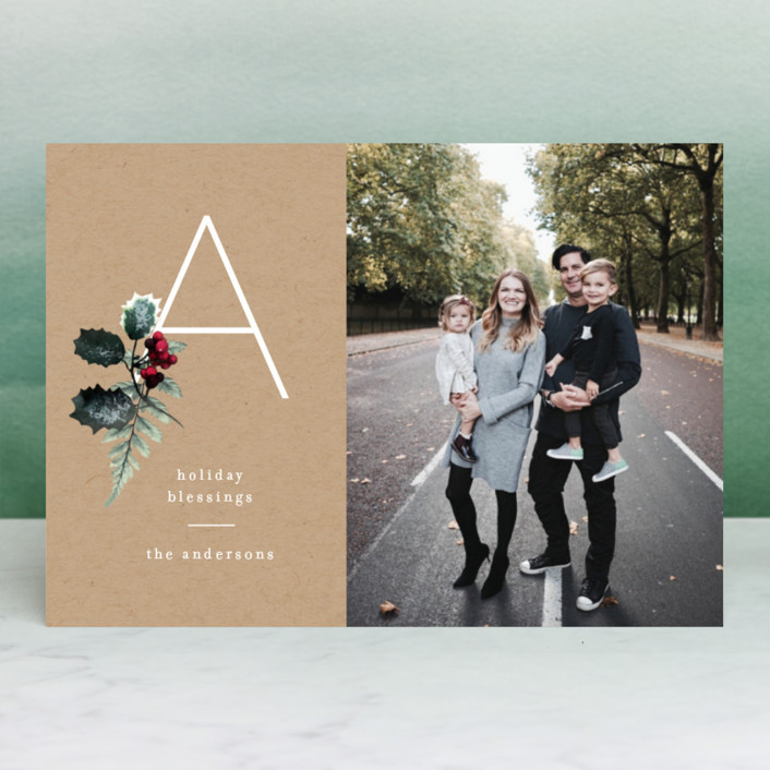 """""""Floral Monogram"""" - Christmas Photo Cards in Ash by Baumbirdy."""