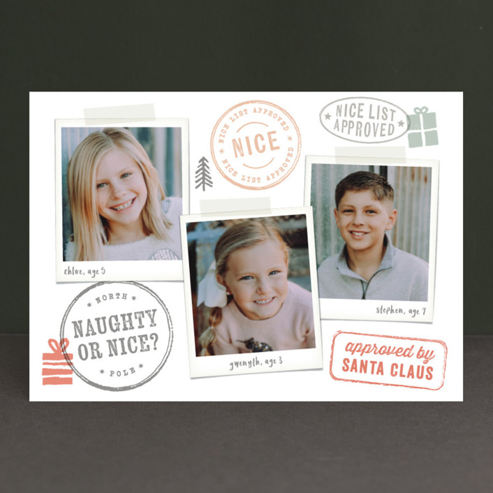 """Nice List Approved"" - Funny Christmas Photo Cards in Candy Cane by Hooray Creative."
