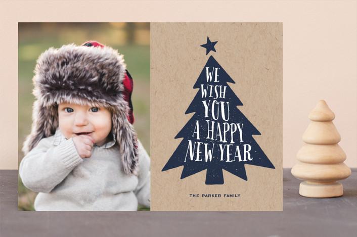"""Krafty Tree"" - Christmas Photo Cards in Kraft by Alex Elko Design."