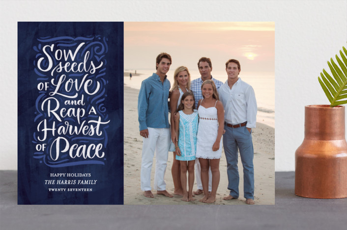 """Harvest of Peace"" - Christmas Photo Cards in Royal by Laura Bolter Design."