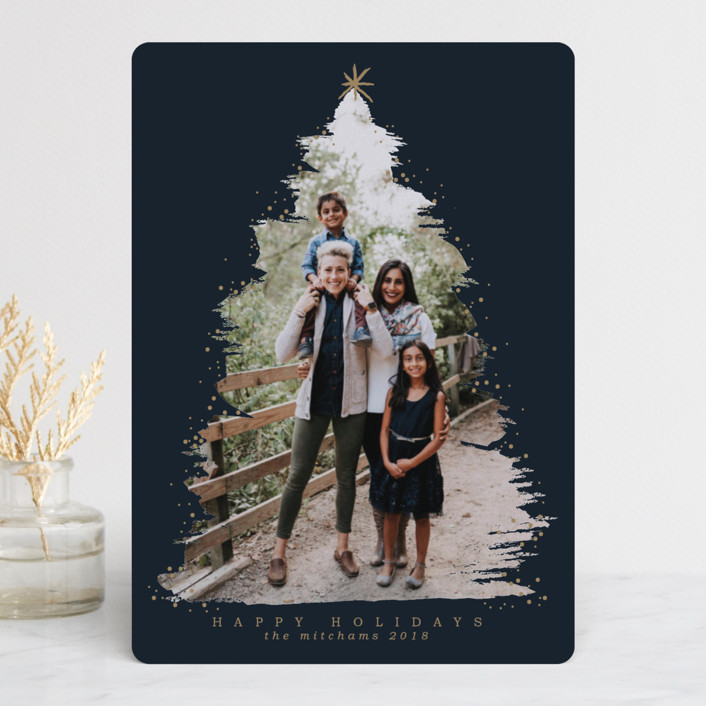 """Under the Tree"" - Christmas Photo Cards in Navy by Grae Sales."