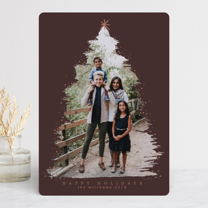"""""""Under the Tree"""" - Christmas Photo Cards in Navy by Grae Sales."""